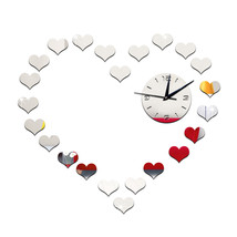 DIY Living Room Peach Heart Mirror Wall Clock    silver - $23.99