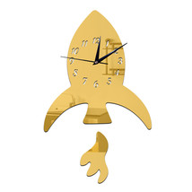 Creative DIY Kid Room Decoration Wall Clock Sticking   golden - $21.99
