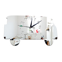 Creative Minibus Mirror Wall Clock Silent Acrylic Sticking   silver - $21.99