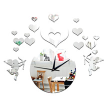 Love Heart Cupid Mirror Living Room 3D Decoration Wall Clock   silver - $23.99