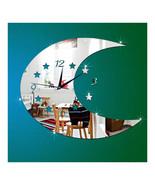 Moon Wall Clock Creative Mirror Kid Room Decoration   silver - $21.99