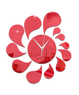 3D Water-drop Mirror Wall Clock Acrylic Sticking   red - $21.99