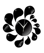 3D Water-drop Mirror Wall Clock Acrylic Sticking   black - $21.99