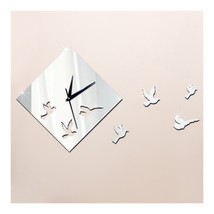 Flying Bird Mirror 3D Decoration Wall Clock Acrylic Sticking   silver - $22.99