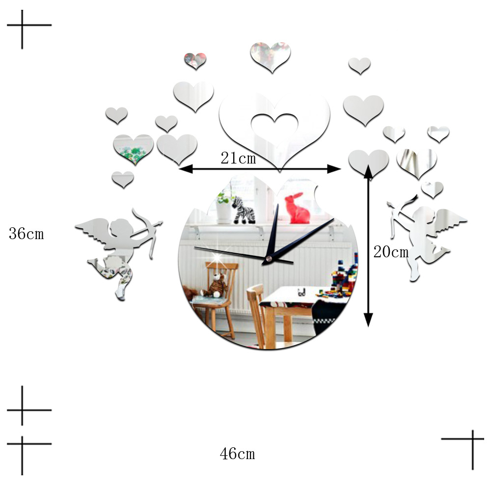 Love Heart Cupid Mirror Living Room 3D Decoration Wall Clock   silver