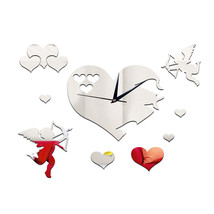 Wedding Room Decoration Quartz Mirror Cupid Wall Clock  A silver - $21.99