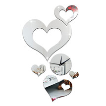 Wedding Room Decoration Quartz Mirror Cupid Wall Clock   C silver - $21.99