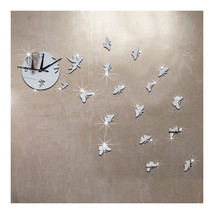 Butterfly Wall Clock Sticking Mirror Living Room   silver - $21.99