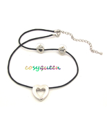 Fabulous silver love heart pendant black cord necklace & earring gift set - $19.99
