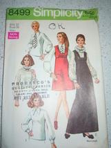Vintage 1969 Simplicity Miss Size 12 Jumper & Blouse Pattern #8499 - $6.99