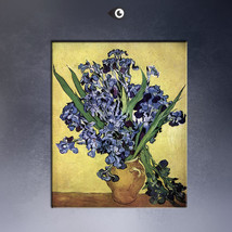 VASE OF IRISES AGAINST A YELLOW BACKGROUND Giclee Van Gogh Painting 20x2... - $29.99
