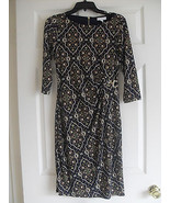Charter Club Womens New Navy/Gold Print Metal Trim Ruched Dress  XS     ... - $26.99