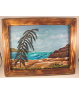 Ocean Seascape Acrylic Painting in Custom Wood Frame Wall Decor Hanging ... - $25.00