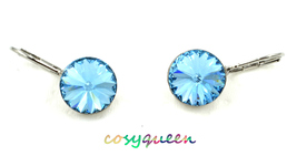 Beautiful large round cut Aquamarine Swarovski crystal drop pierced earr... - $25.63 CAD