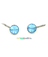 Beautiful large round cut Aquamarine Swarovski crystal drop pierced earr... - $19.99