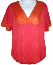 Ella Moss silk trim top sz XS red/orange jersey knit bubble hem blouse - $10.00
