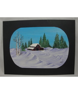 Winter Landscape Barn In The Snow Original Acrylic Painting Signed US Ar... - $10.00