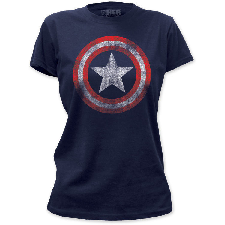 NEW Captain America Vintage Faded Look Logo Shield Emblem Marvel T-shirt top tee