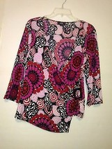 AGB WOMEN'S MULTI-COLOR FLORAL BLOUSE WITH SIDE BUCKLE SIZE XL - $12.20