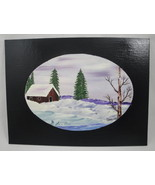 Winter Landscape Shack in the Pines Original Acrylic Painting Signed US ... - $20.00