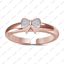 Rose Gold Fn. 925 Sterling Silver Round White Cz Bow Tie Adjustable Toe ... - $20.99