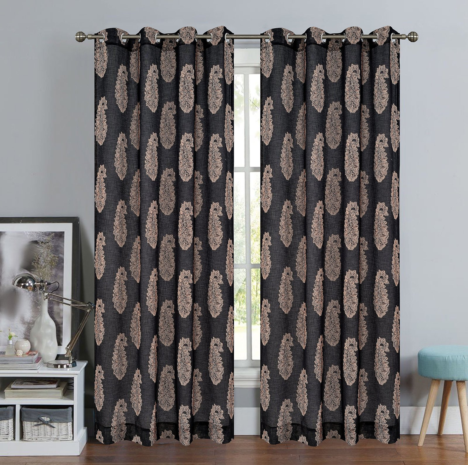 Urbanest 54-inch by 96-inch Paisley Set of 2 Faux Linen Sheer Drapery Curtain Pa