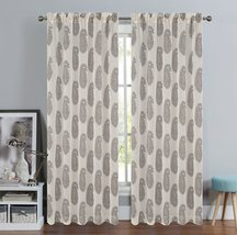 Urbanest 54-inch by 84-inch Paisley Set of 2 Faux Linen Sheer Drapery Curtain Pa image 2