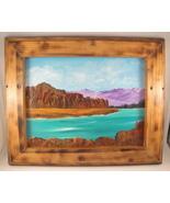 Mountain Lake Landscape Acrylic Painting in Burned Wood Frame Wall Hangi... - $25.00