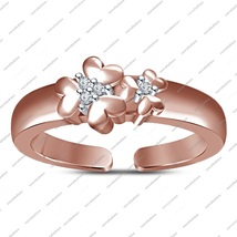 Rose Gold Fn. Sterling Silver Toe Ring Flower Shaped Adjustable With Rou... - $22.99