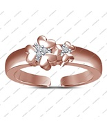 Rose Gold Fn. Sterling Silver Toe Ring Flower Shaped Adjustable With Rou... - £11.46 GBP