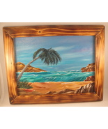 Palm Tree Ocean Seascape Acrylic Painting in Burned Wood Frame Wall Deco... - $20.00
