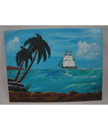 Seascape Ocean Landscape Out to Sea Original Acrylic Painting Signed US ... - $10.00