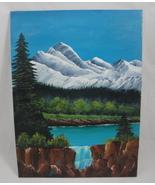 Mountain Falls Landscape Original Acrylic Painting Signed US Artist Shank - $20.00