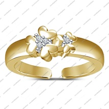 925 Sterling Silver Rose Gold Fn.Toe Ring Flower Shaped Adjustable With ... - $22.99
