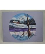 Winter on the Farm Landscape Original Acrylic Painting Signed US Artist ... - $10.00