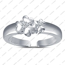 925 Sterling Silver 14K White Fn.Toe Ring Flower Shaped Adjustable With ... - $22.99