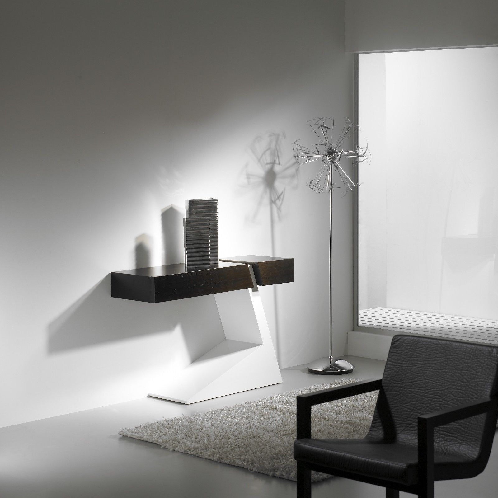 J&M Waiting Premium White High Gloss Console Table Contemporary Modern Style