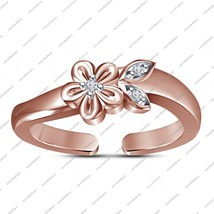 Rose Gold Fn. 925 Silver Round Cut White Cz Flower Shape Adjustable Toe ... - $23.99