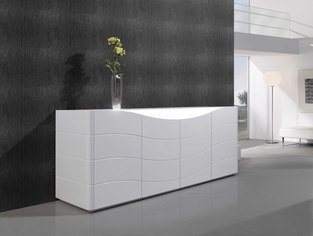 J&M Zao Premium Natural Lacquer Buffet White Goloss Contemporary Style