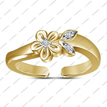 Flower Leaves Antique Design 14K Gold Fn 925 Sterling Silver Adjustable ... - $23.99