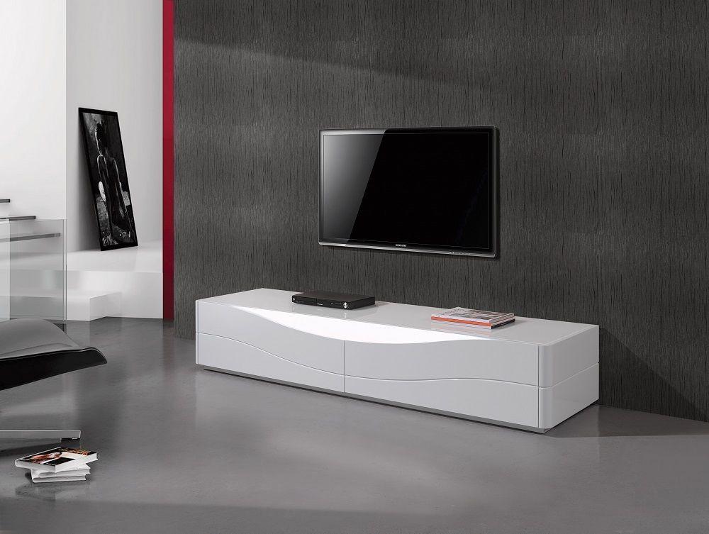 J&M Zao Premium White Lacquer TV Base Modern Style