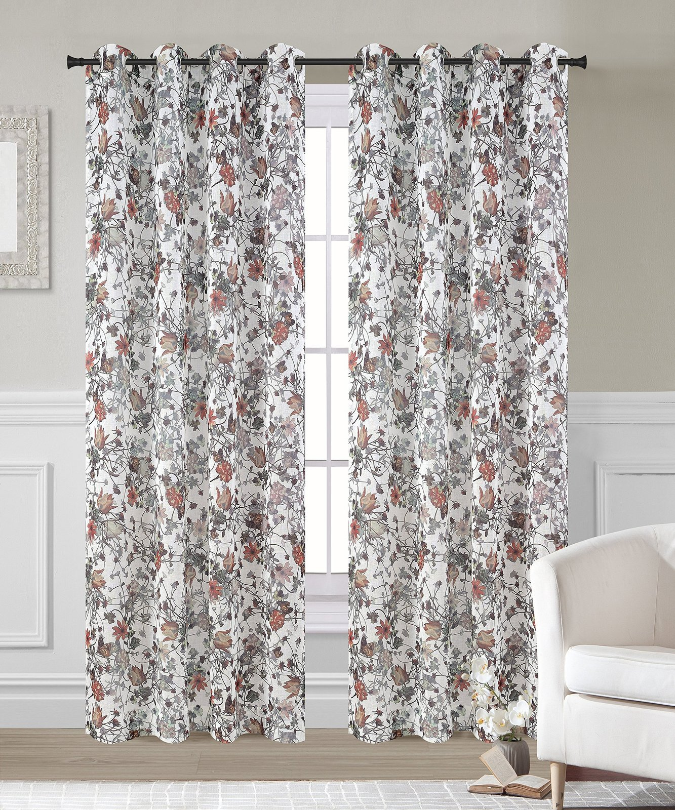 Urbanest 54-inch by 63-inch Set of 2 Faux Linen Sheer Garden Drapery Curtain Pan image 2