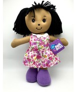 Rag Doll Childs Toy 15 inch ages 3+ Black Hair Flower Dress New - $14.39
