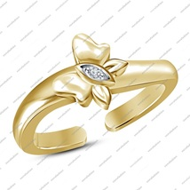 Adjustable Butterfly Toe Ring 925 Sterling Silver 14K Gold Plated Jewelr... - $21.99