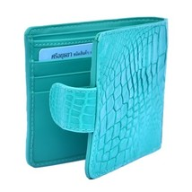 Stylish Bifold Shape Bright Turquoise Original Crocodile Leather Men Nice Wallet - $176.39