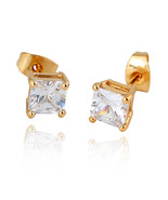 Square Zircon Earings Couples Design   gold plated white zircon - $10.99