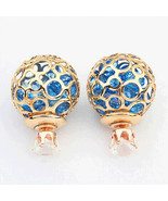 hollow zircon crystal pearl earrings small jewelry stall explosion model... - $7.99