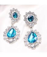 exaggerated diamond earrings diamond flower earrings  jewelry  BLUE - $7.99