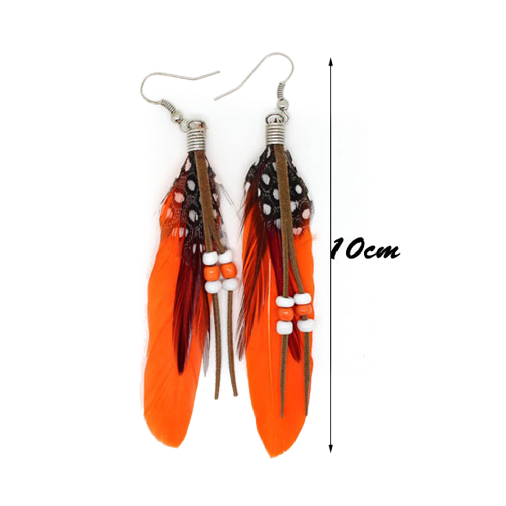 fashion Boximiya multicolor meters living feather earrings wholesale   SKY BLUE