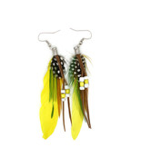 fashion Boximiya multicolor meters living feather earrings wholesale  YE... - $8.99